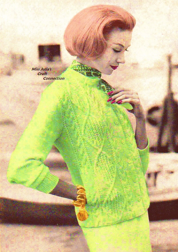 Almost FREE Vintage 1950s Vogue Aran Cable Cardigan Sweater 338  PDF Digital Knit Pattern