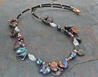 Black Peacock Keshi Pearl Necklace w Moonstones, Amethysts, Gold, & Onyx, Handmade