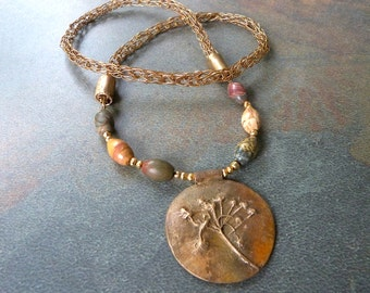 Botanical Pendant Necklace in Antiquated Bronze with Jasper Beads on Viking Knit Chain, Handmade