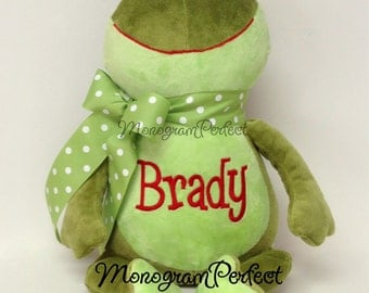 Brady - Ready To Ship - Personalized Frog Stuffed Animal - Already Personalized