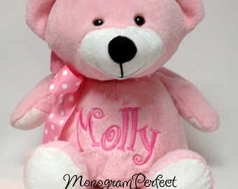 Personalized, Pink Plush, Soft Toy, Teddy Bear Baby Gift