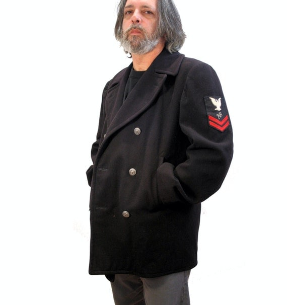 RESERVED for Mary 70s US Navy Pea Coat Mens Large L Military