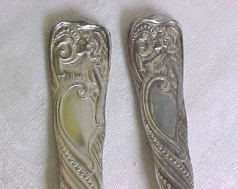 SIREN pattern Spoons - Beautiful Woman Design - Large Tablespoons - 2 Serving Spoons  - 1847 Rogers Silverplate - Victorian circa 1891