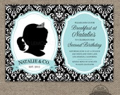Tiffany & Co. Breakfast at Tiffany's CUSTOM Silhouette Invitation PLUS Poster - Printable Files - Cameo - Damask - ANY Age - Any Text - Blue