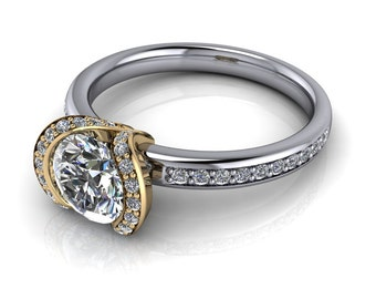 Forever Brilliant Moissanite and Diamond Engagement Ring Ring Name My Love II