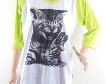 Size L : Cat Sing A Song Shirt Cat Tshirt Baseball Tshirt Raglan Tee Women Tshirts