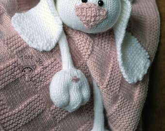 Pink Baby Bunny Toy Blanket - knitting pattern