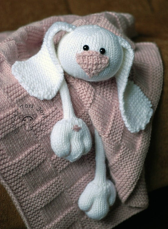 Bunny Blanket Knitting Pattern : Pink Baby Bunny Toy Blanket knitting pattern