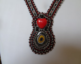 CLEARANCE 30%OFF, Wonderful Fordite Cabochon, Red Heart, Beaded Embroidery and Bead Woven Necklace