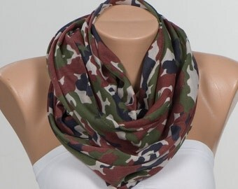 Men scarf. Brown Green Cream Red. Camouflage Scarf. Unisex scarf. Men Women scarf. Holiday scarf. Army Scarf. ON SALE.