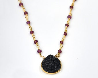 Natural Black Druzy necklace - garnet wire wrapped necklace, gemstone necklace, layering necklace, gold druzy jewelry, January Birthstone