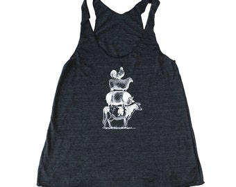 Woman's Foodie Tank with stacked farm animals.