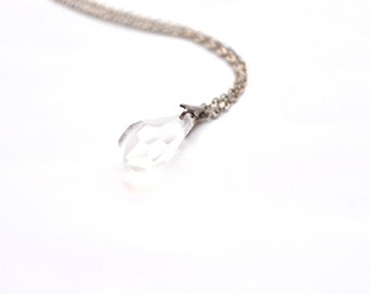 80s Chubby Clear Crystal Pendant Necklace Cute