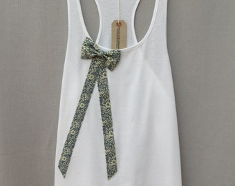 SALE Women's Floral Bow Top Handmade White Organic Cotton Racerback Vest Tank Top