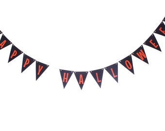Halloween Pennant Banner - Black and Orange Pennant Banner - Halloween Garland - Halloween Triangle Banner