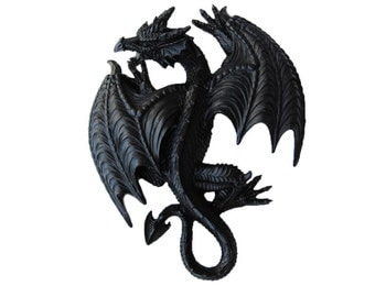 The Ramoth in Black - Black Resin Dragon - Resin Black Faux Taxidermy- Chic & Trendy Fantasy Mount
