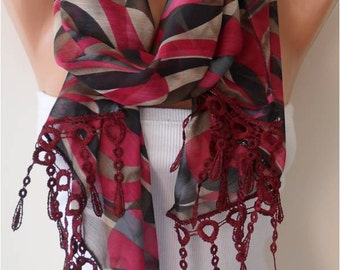 Mother's Day Gift Scarf Burgundy Chiffon Scarf with Lace Edge - Gift - mothers day