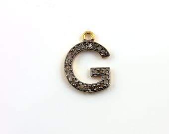 Pave Diamond Pendant, Pave Initial Pendant, Pave Initial G Pendant, Diamond G Charm, G Initial, Gold Plated Over Silver.  (DCH/G)