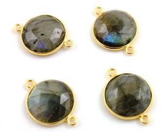 Natural Labradorite, Bezel Coin Shape Gemstone Pendant, Gold Vermeil , 12 mm, 1 Piece, ...