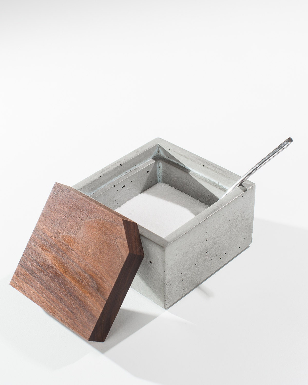 Square Concrete Salt Box With Dark American Walnut Wood Lid