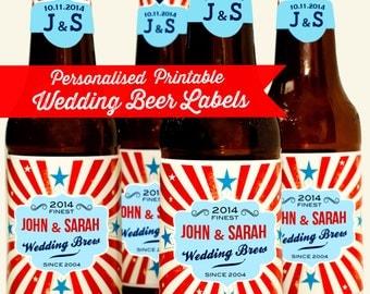 Personalised Printable Wedding / Anniversary Beer Bottle Labels