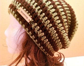 CLEARANCE Green and Brown Stripe Slouch - Crochet Slouchy Beanie - Womens Slouchy Hat - Baggy Beanie - Oversized Beanie - Hipster Hat