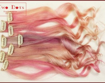 10 pieces Pastel Pink Clip in Extensions. 18 Inches Long, 100% Human hair, Double Wefted, 1.5mm Width