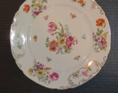 FREE SHIPPING - Antique Victoria China Czechislovakia Floral Scalloped Plate