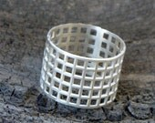 Sterling silver ring - Silver wide band - Mesh ring - Geometric ring - Geometric jewelry