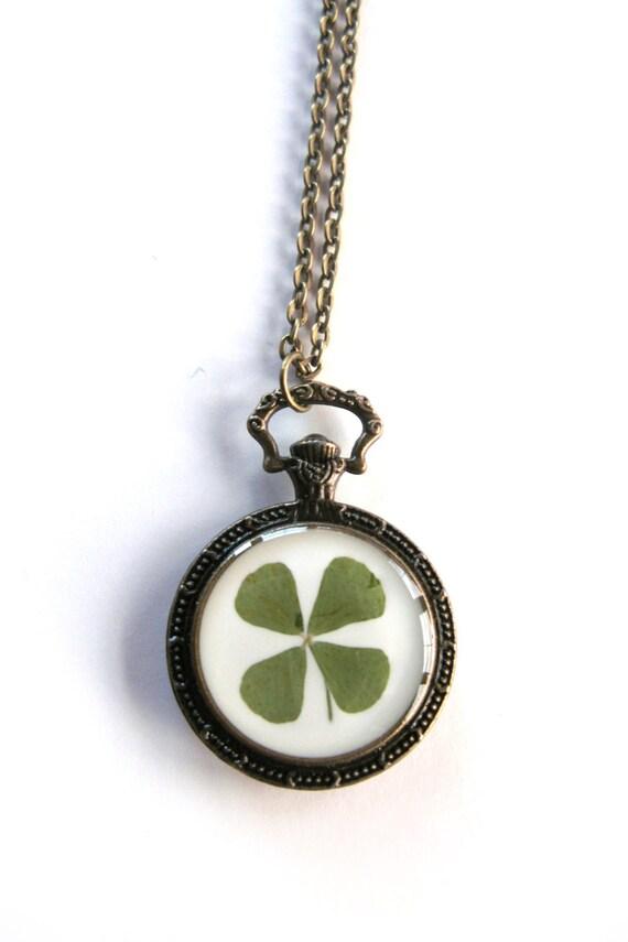 four leaf clover pendant necklace real clover in pocket
