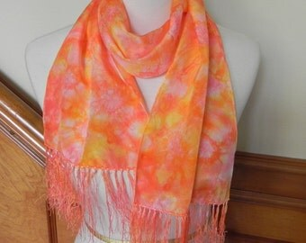 Crepe Silk Scarf with Fringe, Hand Dyed Scarlet Pink and Orange, # 344, Ready to ship