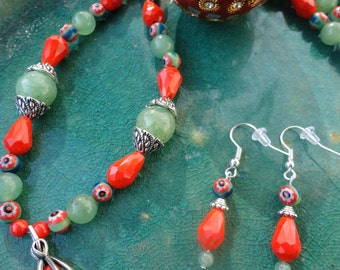 Orange and Jade Green Necklace and Earring Set