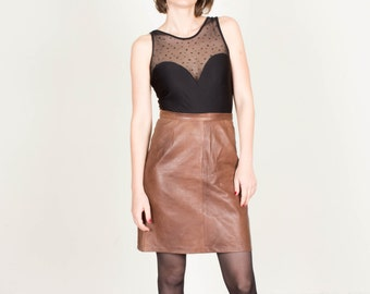 Vintage Brown Leather Skirt / High Waisted Leather Skirt / Midi Skirt / Mini Skirt / Womens Size Small