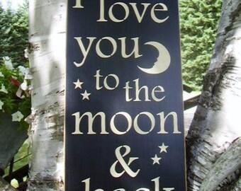 Wood Sign, I Love You To The Moon & Back, Subway ,Word Art, Handmade