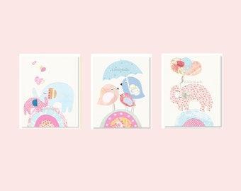 Baby Girl Nursery Prints, Nursery Art, French Nursery, Pink and Blue Nursery Prints, SET OF 3 PRINTS, Birds,  Elephants, Pastels, Light Pink