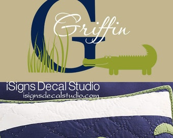 ALLIGATOR WALL DECAL  Initial Name Decal Alligator Monogram  Kids Name Wall Decal  Alligator Nursery Decal Wall Art