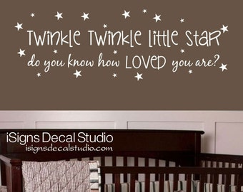 Twinkle Twinkle Little Star Wall Decal - Nursery Wall Decal -  Stars Wall Decal