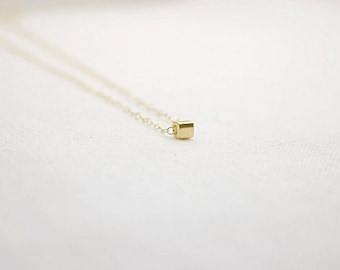 Gold filled necklace with gold cube