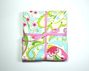 Baby Blanket /Kumari Gardens / Modern Baby Blanket / Pink, turquoise and green / designer baby blanket