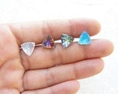 Triangle Stud Earrings Geometric Jewelry Vintage Glass Cabochon Earrings