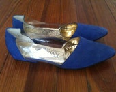Indigo Leather and Clear Plastic AMANO Handmade Flats Mules Shoes -- Never Worn