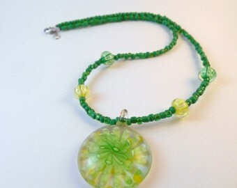 Green Beaded Necklace with Flamework Pendant Focal