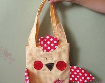 Yellow cotton fabric chicken bag for girls