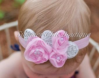 Light Pink Baby Headband, Infant Headband, Newborn Headband, Shabby Chic Headband, Light Pink Triple Chiffon Flower Headband, Pink Chiffon