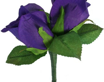 Purple Silk Rose Double Boutonniere - Wedding Boutonniere Groom