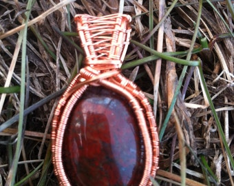 Red Jasper with Hematite Non-Tarnish Copper Wire Wrapped Pendant