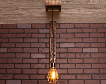 Industrial lighting, Industrial Chandelier, Nickel With Reclaimed Wood and 1 Pendants. R-66-NC-1
