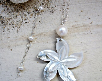 Plumeria Necklace, Mother of Pearl Plumeria, Hawaii Flower Pendant, White Pearl Plumeria, Silver Plumeria Necklace, Bridesmaid Gift, Beach