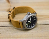 Leather Watch Strap Horween Leather Polished Sand Chromexcel PVD Hardware