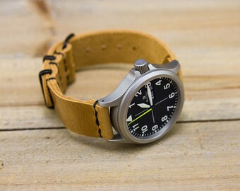 Leather Watch Strap // Horween Leather Natural Essex // PVD Hardware Metal Slides